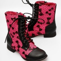 Iron Fist Bowed Over Combat Boots - Pink