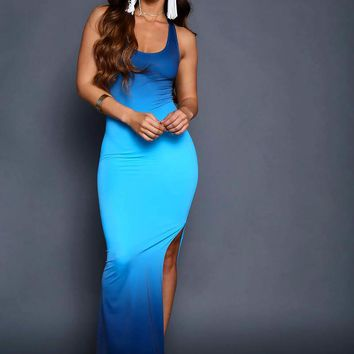 Ombre Blue Sleeveless Dress