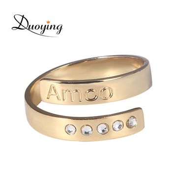 DUOYING 4 mm Bar Ring Zirconia Set Rings for Women Cuff Initial Custom Name Gold Rings for Etsy Personalized Bling Jewelry Ring