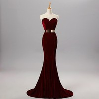 Dqfs Sweetheart Velvet With Metal Belt Mermaid Long Prom Party Dress