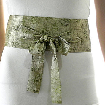 Olive Green Sash Belt Obi Waist Cincher - Floral Paisley Sash Belt Obi Waist Cincher - Sashes for Weddings Evening Cocktail Formal Party