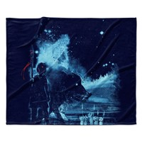 "Frederic Levy-Hadida ""Nature Defenders"" Blue Illustration Fleece Throw Blanket"