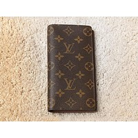 Lv Louis Vuitton Men and women Chessboard long wallet wallet  Coffee Monogram B