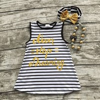 """new   baby girls summer black white striped """"don't stop dreaming"""" dress with matching bow and necklace set"""