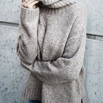 Autumn and winter women's casual shirt long-sleeved high round neck solid color sweater women