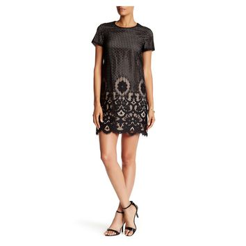 CeCe by Cynthia Steffe Black Kayte Short Sleeve Border Floral Lace Dress