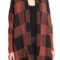 Sun & Shadow Buffalo Check Open Front Cardigan | Nordstrom