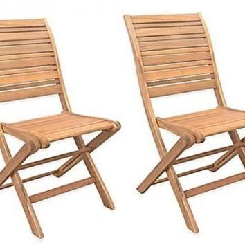Folding Chairs Set Acacia Patio Garden Pool Deck Outdoor Portable Wood Brown