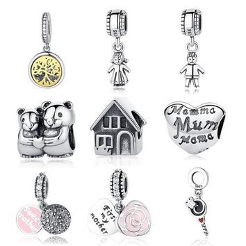 CREY8UH Authentic Sterling Silver 925 Original Charm Pandora Bracelet Diy Charms Beads Family Mom Sister Baby Jewelry Tree Pendant