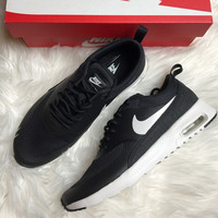 Nike Air Max Thea Black Premium Leather SneakersNWT black-white soles