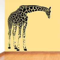 Wall Decal Vinyl Sticker Decals Art Decor Design Giraffe Animals Jungle Safari Kids Children Nursery Baby Living Room Bedroom Modern(r614)