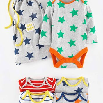 Infant Boy's Mini Boden Print Bodysuits ,