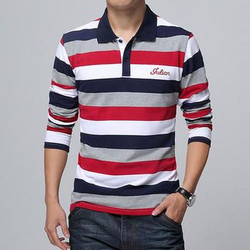 Embroidered Men Strip Polo Shirt
