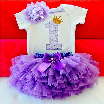 Kids Dresses For Girls 2017 Tutu Event Girls First Birthday Party Infant Dress Baby Girl 1 Year Baptism Clothes Vestido Infantil