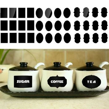 60pcs/set Blackboard Sticker Craft Kitchen Jars Organizer Labels Chalkboard Chalk Board Sticker Black Board