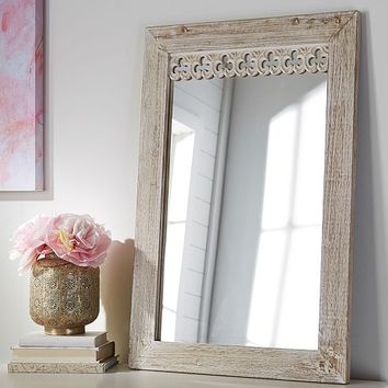 Antique Wood Rectangle Mirror