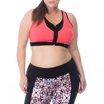 Plus Size Coral Polyester Flame Bra