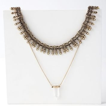 Sunizona Gold Layered Collar Necklace