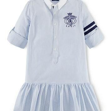 Ralph Lauren Childrenswear Girls 7-16 Collared Stripe Day Dress