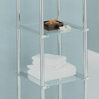Chrome finish metal and glass bathroom accessory 4 tier shelf