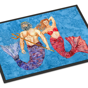 Mermaid and Merman Indoor or Outdoor Mat 18x27