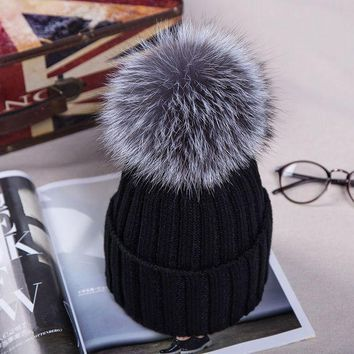 PEAPUNT 2016 Knitted Hats for The Winter with 12CM Silver Fox Fur Ball Tops Women Acrylic Russian Cap Beanies Casual Women's Fur Hat