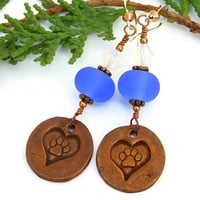 Dog Rescue Earrings Handmade Copper Paw Prints Hearts Blue Lampwork