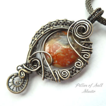 Antiqued silver pendant, wire wrapped jewelry handmade, sterling silver filled wire, Australian agate, woven wire jewelry, silver jewelry