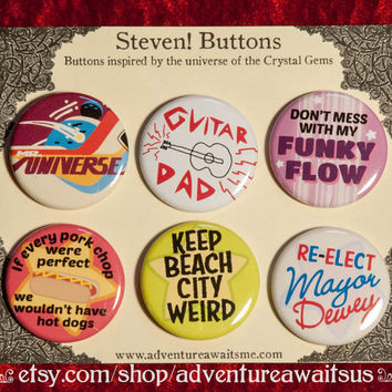 Steven Universe Pinback Button Set - pins badges quotes greg guitar dad funky flow keep beach city weird mayor dewey crystal gems