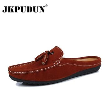 JKPUDUN Designer Summer Half Shoes Men High Quality 2017 Italian Mens Leather Boat Shoes Men Casual Penny Loafers Luxury Brand