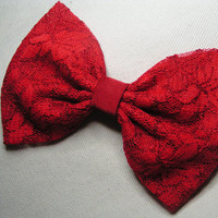 Red lace Hair Bow Clip, kids hair bows, Teens, women, Fabric Bows, hair bow, Bow