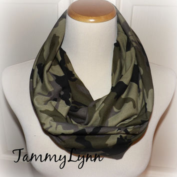 Camo Jersey Knit Infinity Scarf Camouflage Fashion Infinity Scarf Hunting Duck Dynasty Women's Accessories