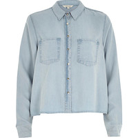 River Island Womens Light wash crop denim shirt