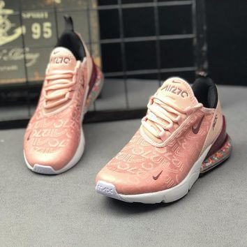 AUGUAU N415 Nike Air Max 270 Suspended air cushion particles Breathable Running Shoes Pink Red