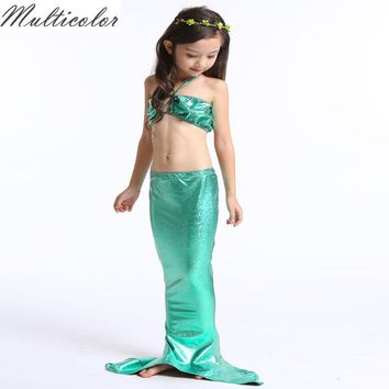 Multicolor 2018 Girls Dress Children Mermaid Tail Swimming Suit Dress  Princess Cosplay Party Princess Ariel Swiming Clothing