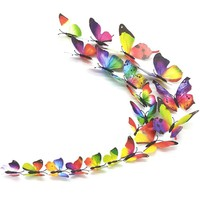 12 pcs set Rainbow Style Butterfly Wall Stickers Decoration For Home Decor Festival Party Wedding 3D DIY Vinyl Ornaments