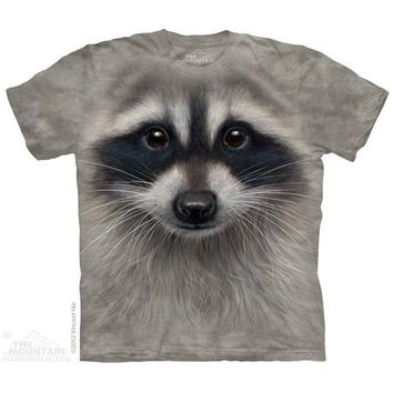 New BIG RACCOON FACE YOUTH CHILD  T SHIRT -