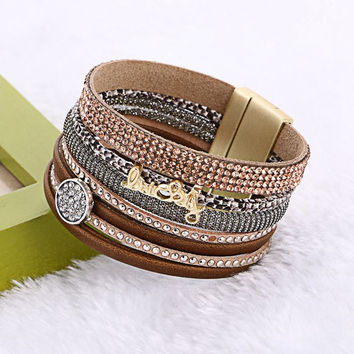2017 Fashion Bohemia Rhinestone Wide Magnetic Leather Multilayer Bracelets For Women Men Trendy Rhinestone Lucky Letter Bangles