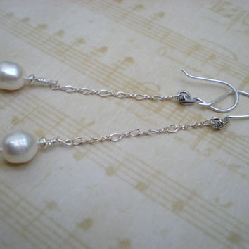 Elegance earrings, white pearl, sterling silver, bridal jewelry, prom, unique jewelry by Grey Girl Designs on Etsy