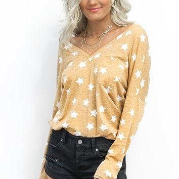 Smile More Mustard Star V Neck Pullover