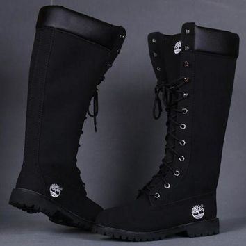 Timberland Rhubarb boots for Women Fashion Lace-Up Waterproof Leather Boots Shoes Black G