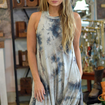 Tie Dye Racerback Crew Neck Swing Dress
