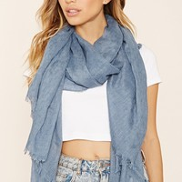 Frayed Trim Oblong Scarf