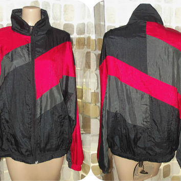 Vintage 80s Geometric Colorblock Windbreaker Jacket Red Gray Black Mighty-Mac Lightweight Vaporwave Coat L/XL