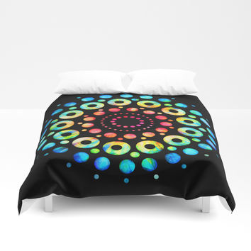 Multi-Color Mandala Tie-Dye Circle Shapes Duvet Cover by AEJ Design