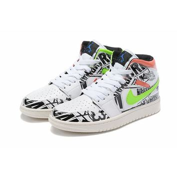 Air Jordan 1 Mid White Black Print - Best Deal Online