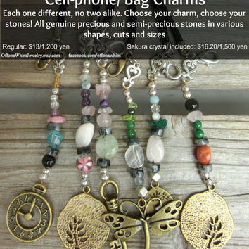 Steampunk Gemstone Bag Cell Phone Charm