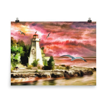 Lighthouse Painting Print // Nautical Home Decor