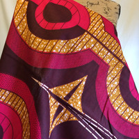 African Wax Print Fabric by the HALF YARD. Large Print Pink with Tan, Rings and Stripes