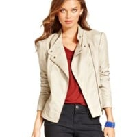 GUESS Jacket, Asymmetrical Quilted Faux-Leather Biker